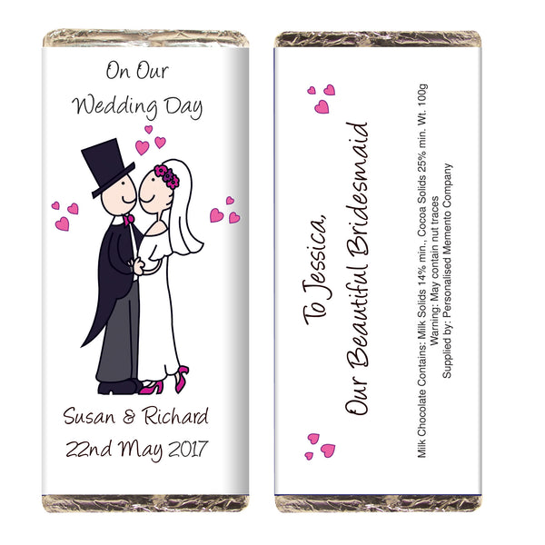 Personalised Cartoon Wedding Milk Chocolate Bar white background