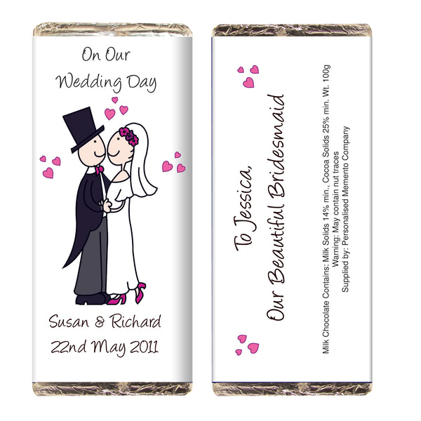 Personalised Cartoon Wedding Milk Chocolate Bar lifestyle image
