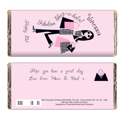 Personalised Fabulous Shopaholic Milk Chocolate Bar white background