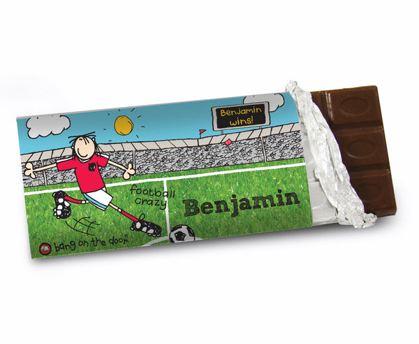 Personalised Bang on the Door Football Crazy Milk Chocolate Bar white background