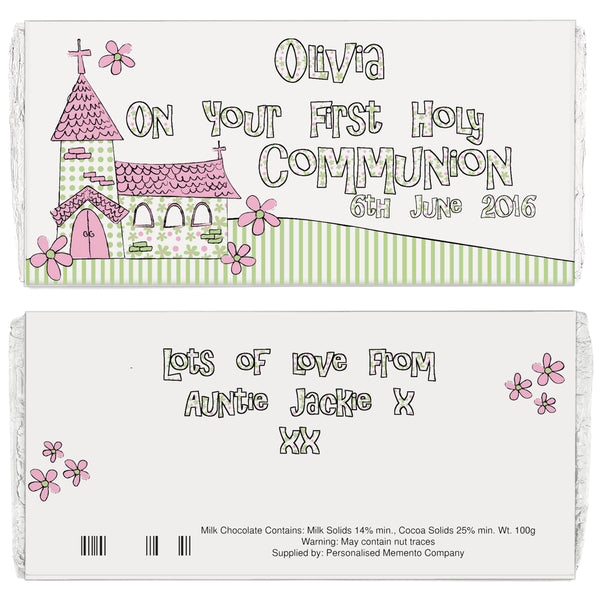 Personalised Whimsical Church Pink 1st Holy Communion Milk Chocolate Bar white background