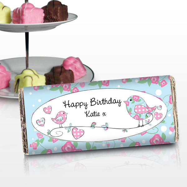 Personalised Floral Bird Milk Chocolate Bar with personalised name