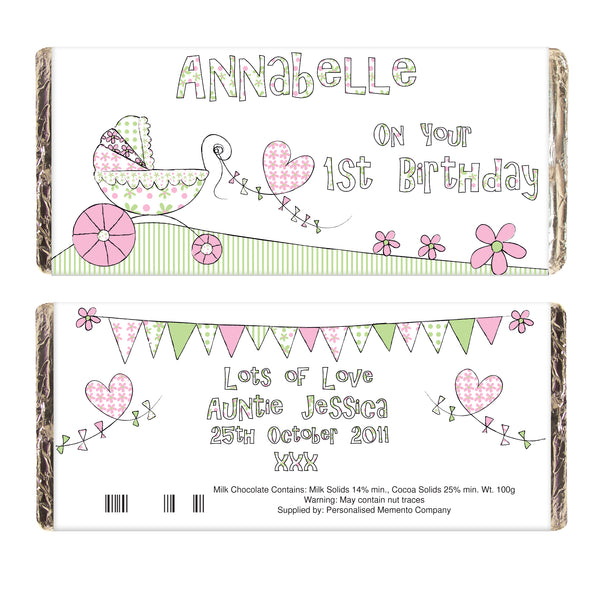 Personalised Whimsical Pram Milk Chocolate Bar lifestyle image