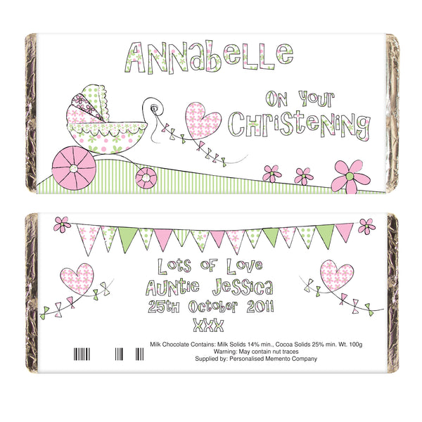Personalised Whimsical Pram Milk Chocolate Bar with personalised name