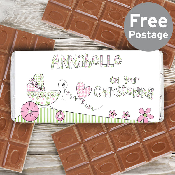 Personalised Whimsical Pram Milk Chocolate Bar