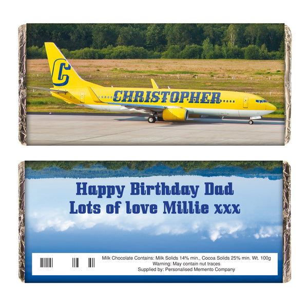 Personalised Airliner Yellow Milk Chocolate Bar white background