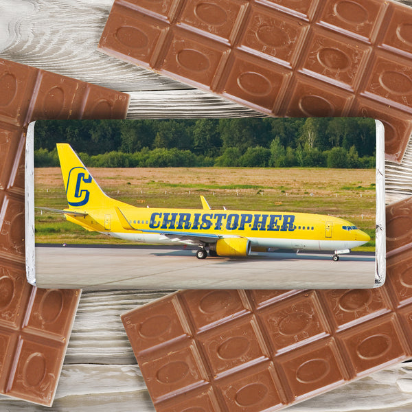 Personalised Airliner Yellow Milk Chocolate Bar from Sassy Bloom Gifts - alternative view