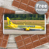 Personalised Airliner Yellow Milk Chocolate Bar