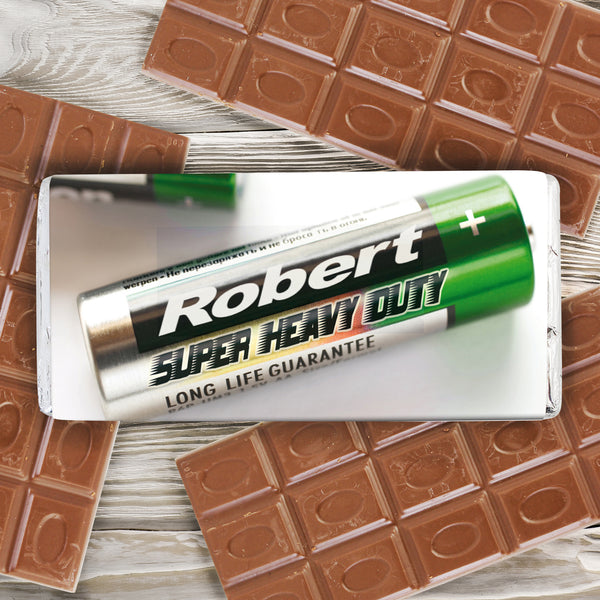 Personalised Batteries Milk Chocolate Bar from Sassy Bloom Gifts - alternative view