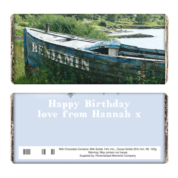 Personalised Old Barge Milk Chocolate Bar white background