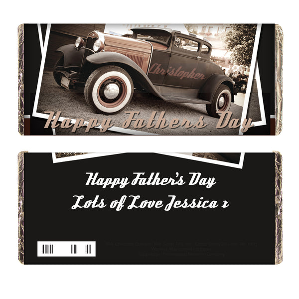 Personalised Classic Car Father's Day Milk Chocolate Bar white background