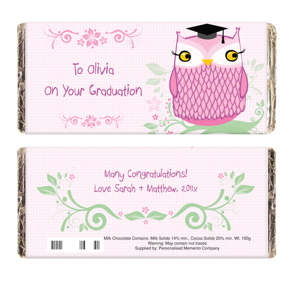Personalised Miss Owl Teacher Milk Chocolate Bar white background