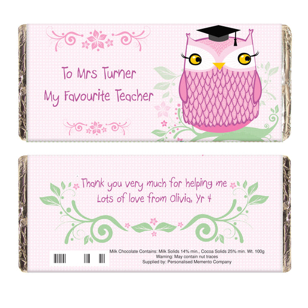 Personalised Miss Owl Teacher Milk Chocolate Bar from Sassy Bloom Gifts - alternative view
