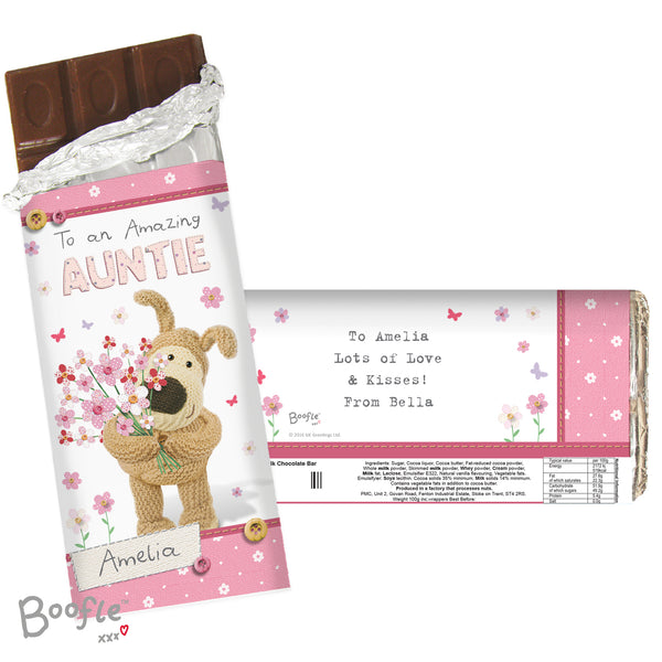 Personalised Boofle Flowers Milk Chocolate Bar white background