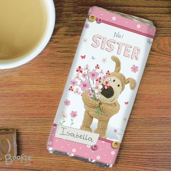 Personalised Boofle Flowers Milk Chocolate Bar with personalised name