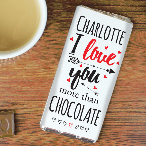 Personalised I Love You More Than... Milk Chocolate Bar lifestyle image
