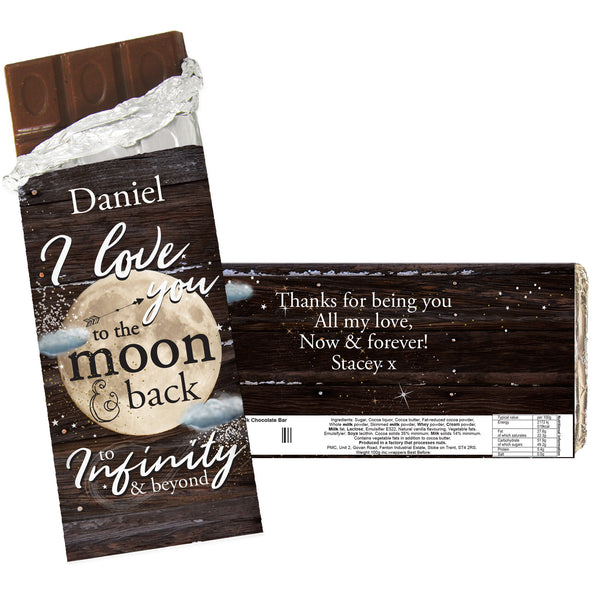 Personalised To the Moon & Infinity... Milk Chocolate Bar white background
