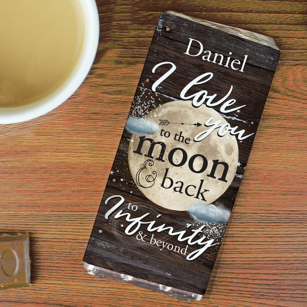 Personalised To the Moon & Infinity... Milk Chocolate Bar lifestyle image