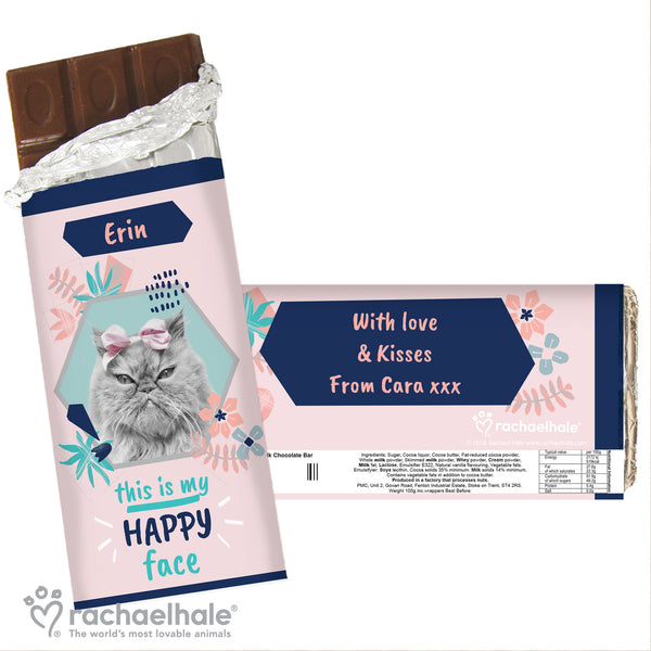 Personalised Rachael Hale 'Happy Face' Cat Chocolate Bar white background