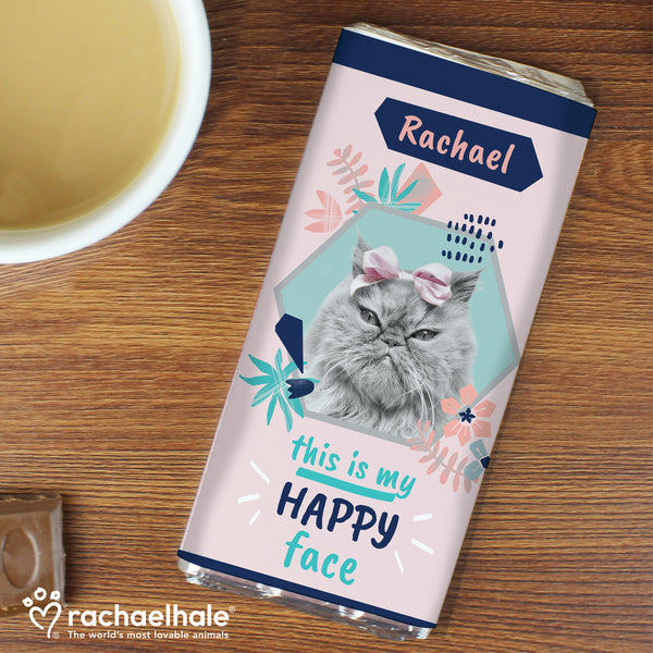 Personalised Rachael Hale 'Happy Face' Cat Chocolate Bar with personalised name