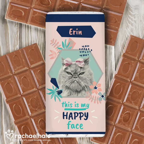 Personalised Rachael Hale 'Happy Face' Cat Chocolate Bar