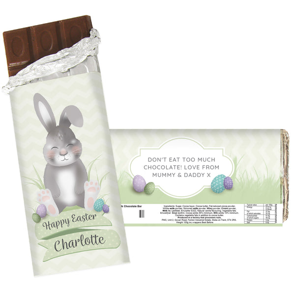 Personalised Easter Bunny Chocolate Bar white background