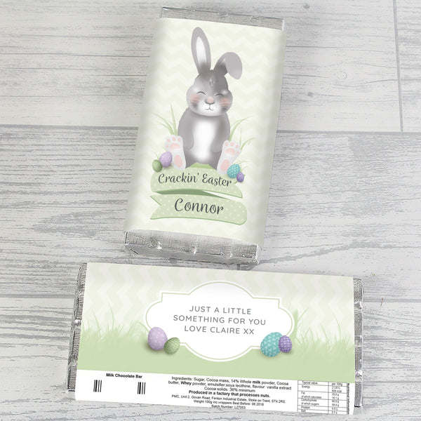 Personalised Easter Bunny Chocolate Bar with personalised name