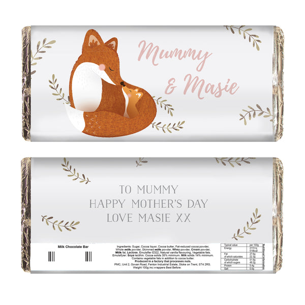 Personalised Mummy and Me Fox Chocolate Bar white background