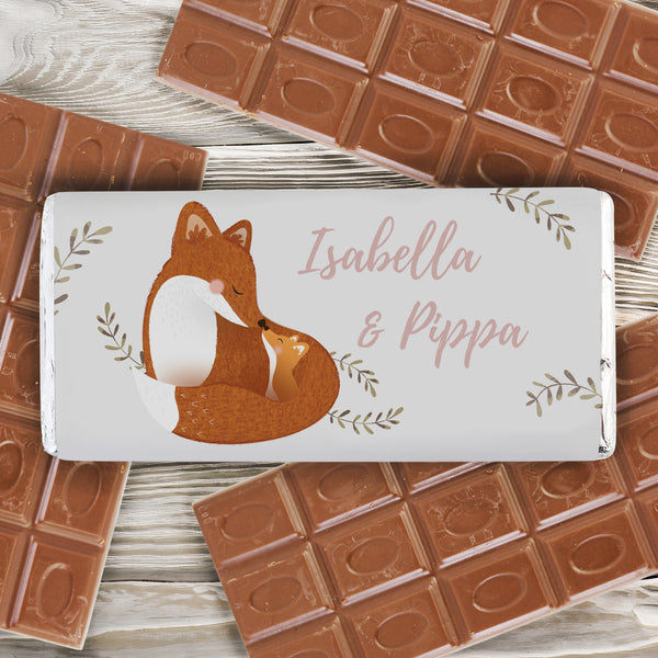 Personalised Mummy and Me Fox Chocolate Bar lifestyle image
