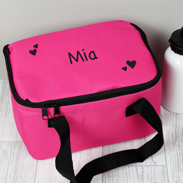 Personalised Black Hearts Pink Lunch Bag white background
