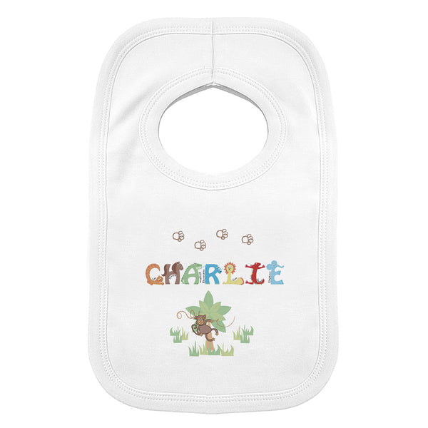 Personalised Animal Alphabet Baby Bib white background