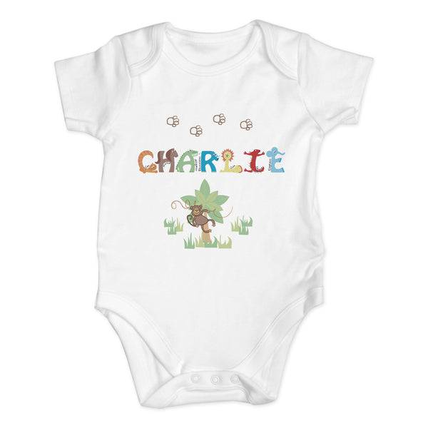 Personalised Animal Alphabet Baby Vest white background