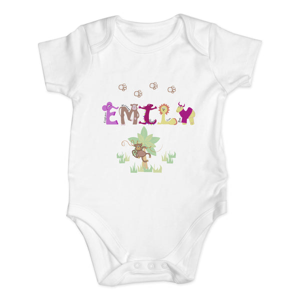 Personalised Girls Animal Alphabet 0-3 Months Baby Vest white background