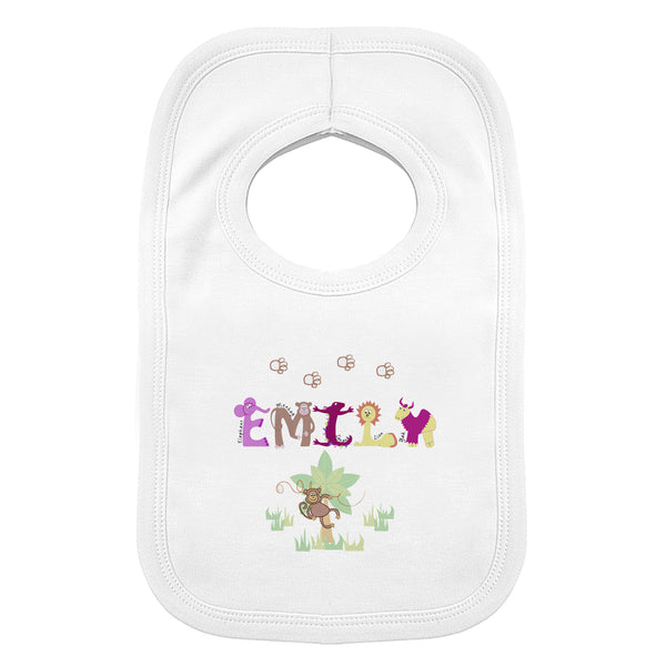 Personalised Girls Animal Alphabet Bib white background