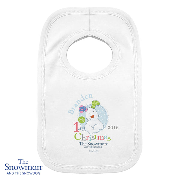 Personalised The Snowman and the Snowdog My 1st Christmas Blue Bib white background