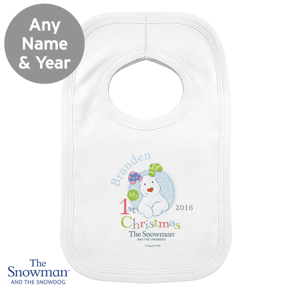 Personalised The Snowman and the Snowdog My 1st Christmas Blue Bib lifestyle image