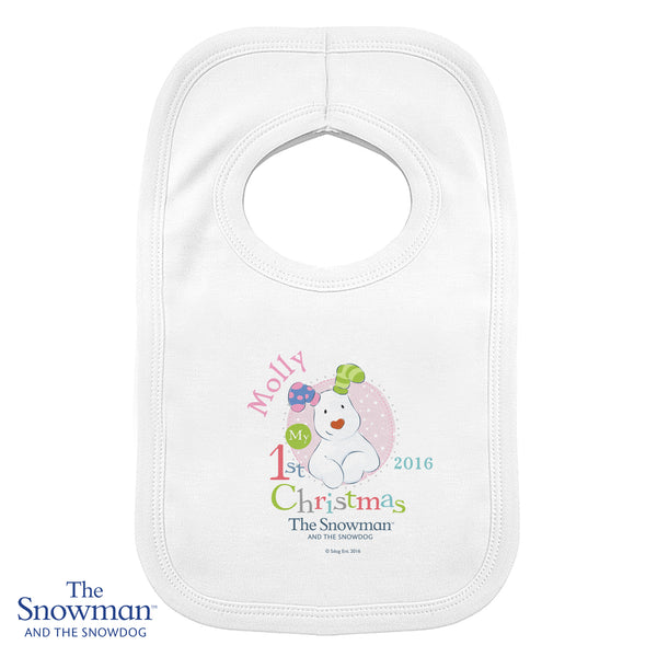 Personalised The Snowman and The Snowdog My 1st Christmas Pink Bib white background