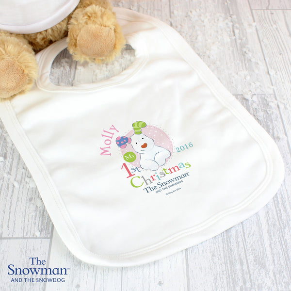 Personalised The Snowman and The Snowdog My 1st Christmas Pink Bib from Sassy Bloom Gifts - alternative view