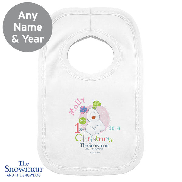 Personalised The Snowman and The Snowdog My 1st Christmas Pink Bib lifestyle image