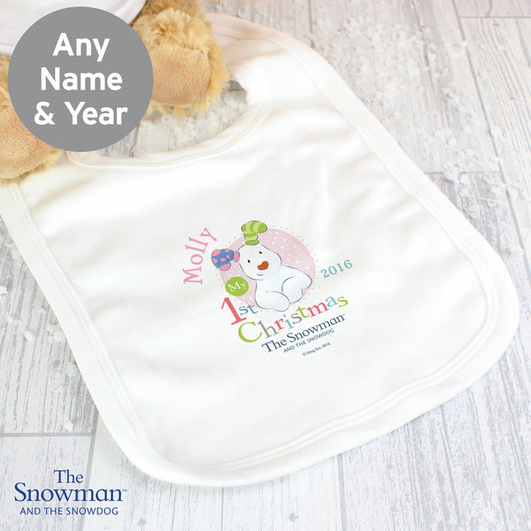 Personalised The Snowman and The Snowdog My 1st Christmas Pink Bib