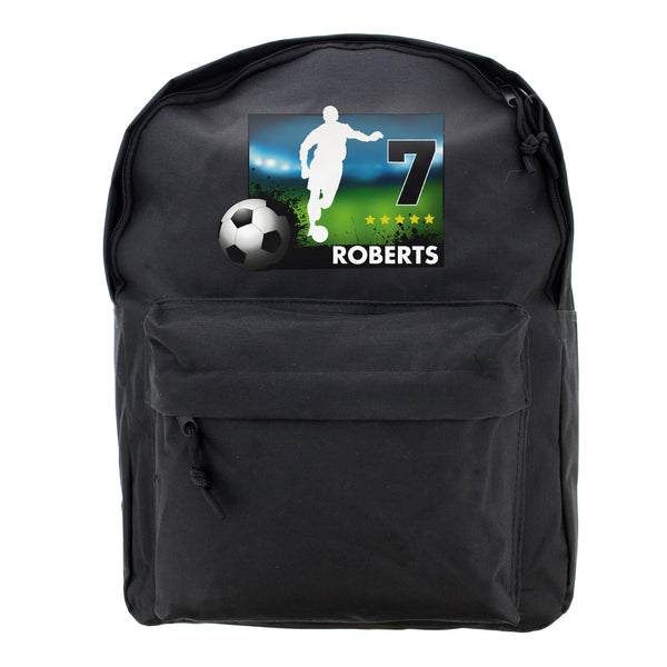 Personalised Team Player Black Backpack white background