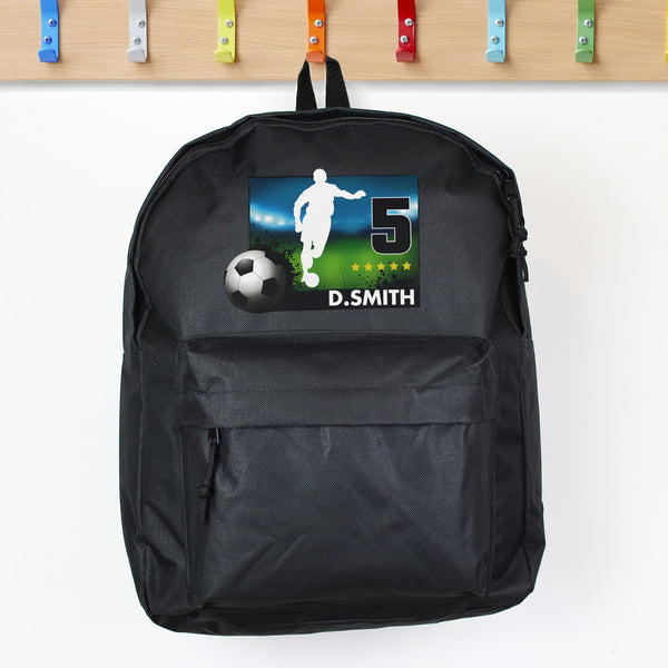 Personalised Team Player Black Backpack lifestyle image