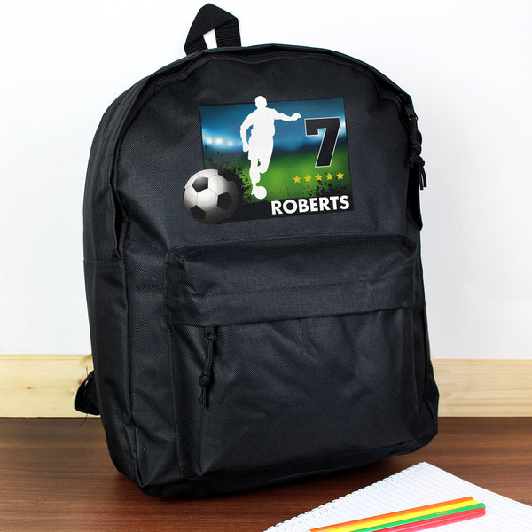 Personalised Team Player Black Backpack with personalised name