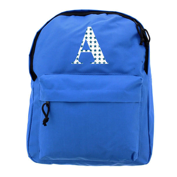 Personalised Star Initial Blue Backpack white background