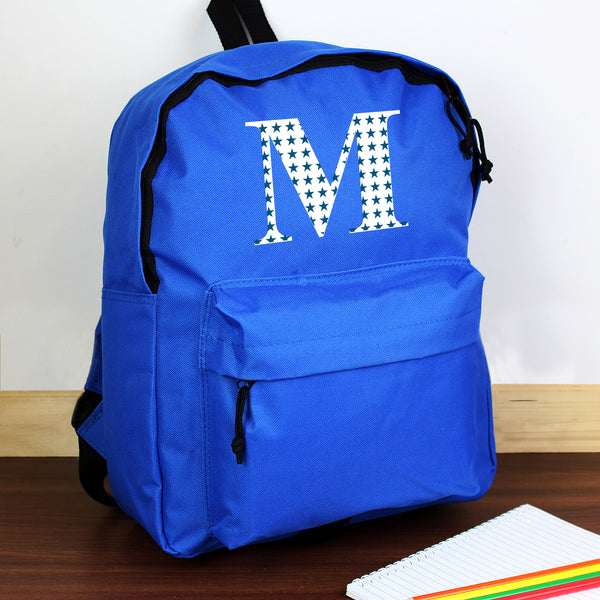 Personalised Star Initial Blue Backpack from Sassy Bloom Gifts - alternative view