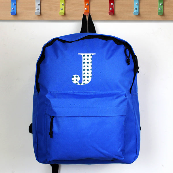 Personalised Star Initial Blue Backpack lifestyle image