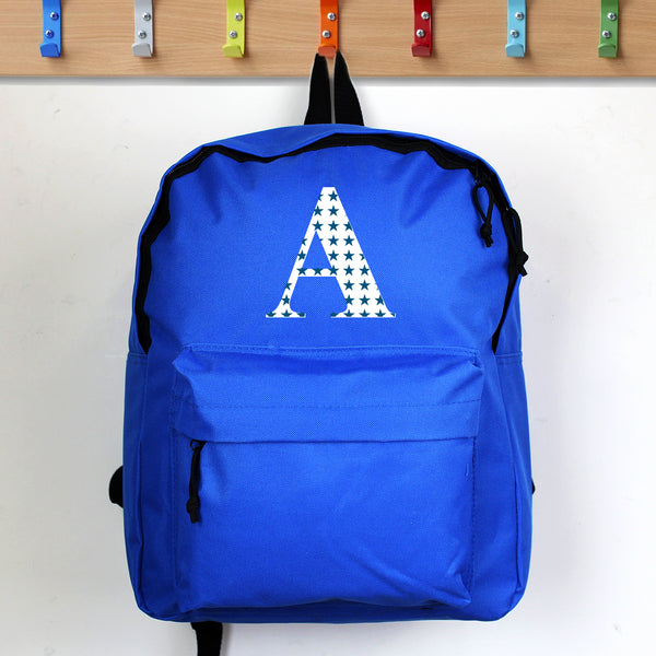 Personalised Star Initial Blue Backpack with personalised name