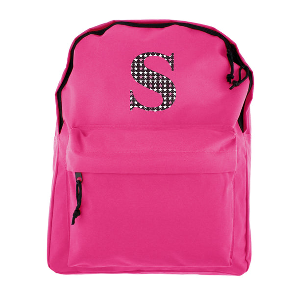 Personalised Star Initial Pink Backpack white background