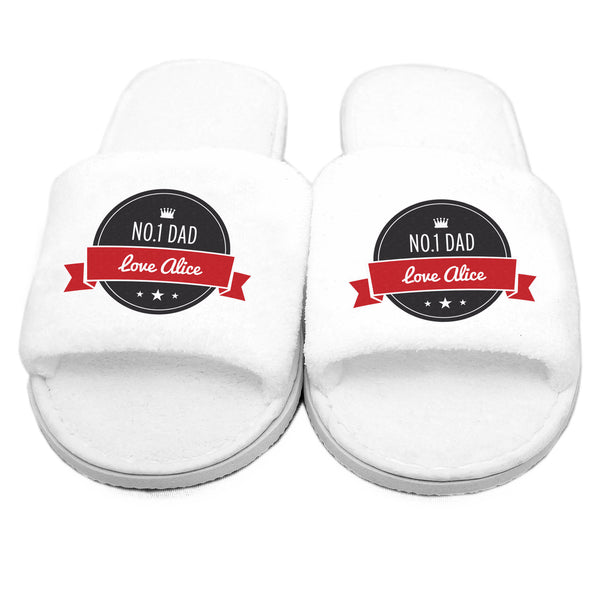 Personalised Red Banner Velour Slippers white background