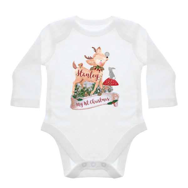 Personalised Festive Fawn 0-3 Months Long Sleeved Baby Vest white background